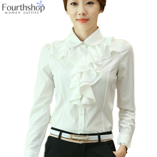 Shirt Female White Blouse Tops Women Long-Sleeve Ruffles-Design Autumn Office Lady New-Fashion