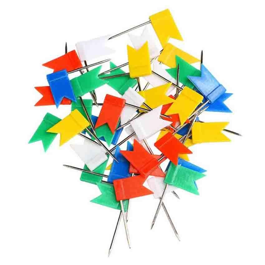 50pcs/lot Flag Shape Long Pin Thumbtacks Colored Cork Board Map Marked Pushpin For Home Office Wall Thumb Tack Decorative Tools