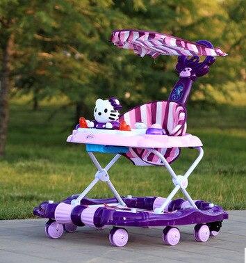 Bébé marcheur jeune enfant voiture Rollover multi-fonction pliant Rock musique chariot avec bébé jouets marcheurs pour bébés bébé Scooter