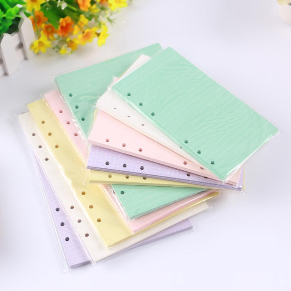6holes A5 A6 Fashion Colorful  Filler Papers Loose-Leaf Notebook Accessories Solid Color Planner Inners Filler Papers 40 Sheets