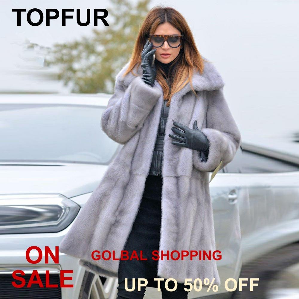 TOPFUR 2019 Winter Medium Real Fur Coat Women Natural Real Mink Fur Short Coat Full Sleeves Coats Lapel Collar Long Jacket Women