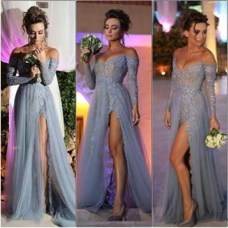 2019 New Fashion Long Sleeves Party Evening Dress A Line Off The Shoulder High Slit Vintage Lace Grey Prom Dresses Long Chiffon