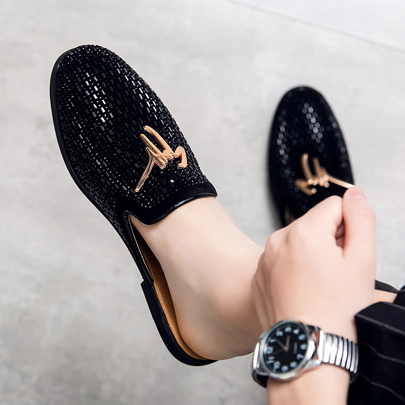 Luxury Diamond Men Slipper Mules Backless Loafers Men Leather Shoes Retro  Flat Heel Party Slippers Slip On Shoes Chaussure Homme|Men's Casual Shoes|  - AliExpress