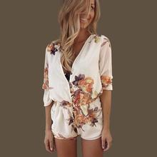 Sexy Women Playsuit V Neck Long Sleeve Gown Rompers printing Party Silk Chiffon Jumpsuit Romper Trousers