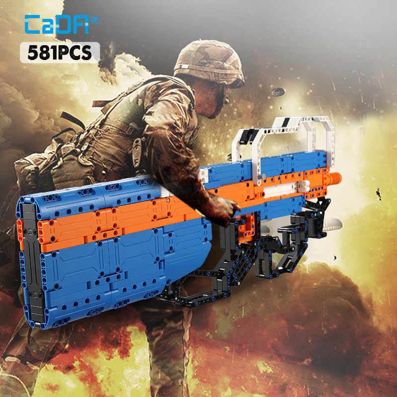 Cada 581PCS P90 Submachine Gun Building Blocks Legoing Military Technology Series Can Launch Gun DIY Bricks Toys for Kids