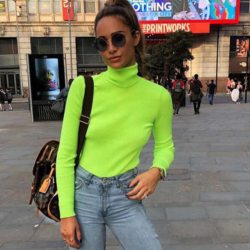 TOPPICK 2019 Autumn  Pullover  Women Christmas Sweater  Turtleneck   Knitted Sweater  Fluorescein Color Long Sleeve Top Femme