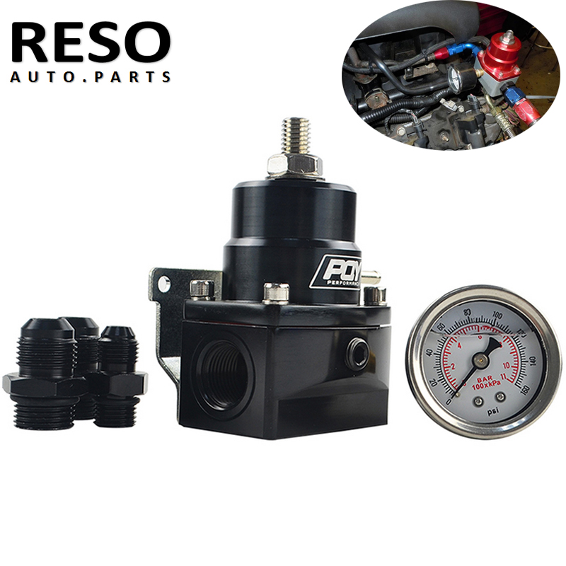 RESO-AN8 high EFI pressure fuel inject regulator with boost and gauge -8 feed or-8 Supply and -6 Return fittings 8AN 8/8/6