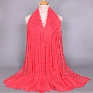 Image 5 - Foulard Hijab en coton pour femmes musulmanes, doux froissé, Long châle, étole islamique, foulards à la mode