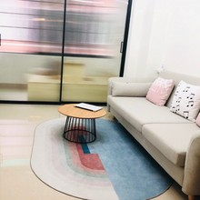 INS popular Unique oval shaped post-modern no hair printed home decoration rug easy care