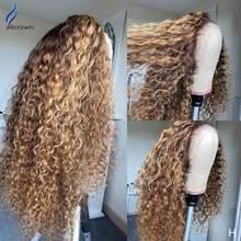ALICROWN 180% yoğunluk kıvırcık dantel ön İnsan saç peruk ön koparıp olmayan Remy dantel ön peruk kadınlar için ağartılmış knot