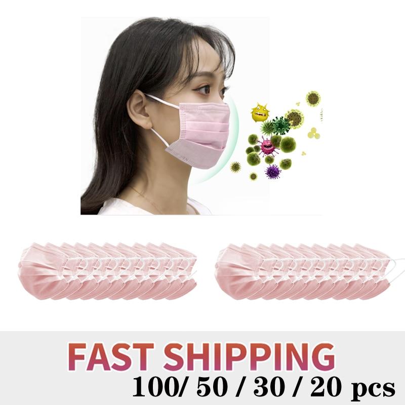 100/50/20pcs Women Pink 3 Ply Disposable Face Mouth Masks Pink Non-Woven Earloop Face Mouth Masks Anti Haze Dust Fog Women Mask