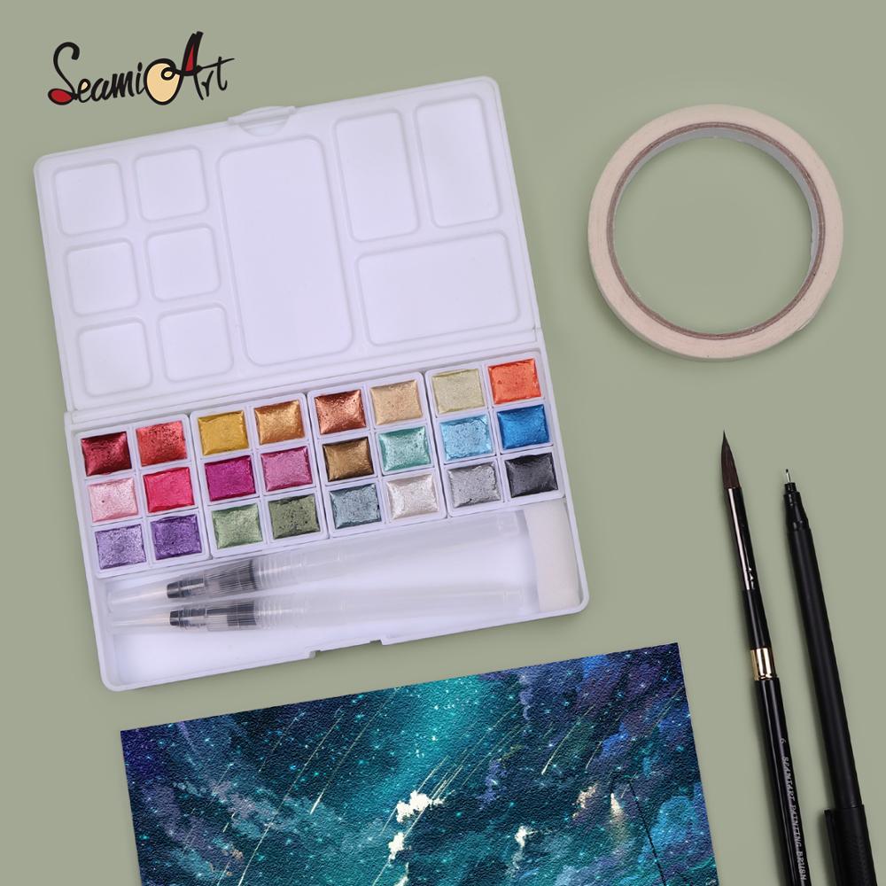 SeamiArt перламутровый пигмент цвета воды 24 цвета однотонный Металлический Набор цветных кисточек с красками для рисования иллюстрации товары...