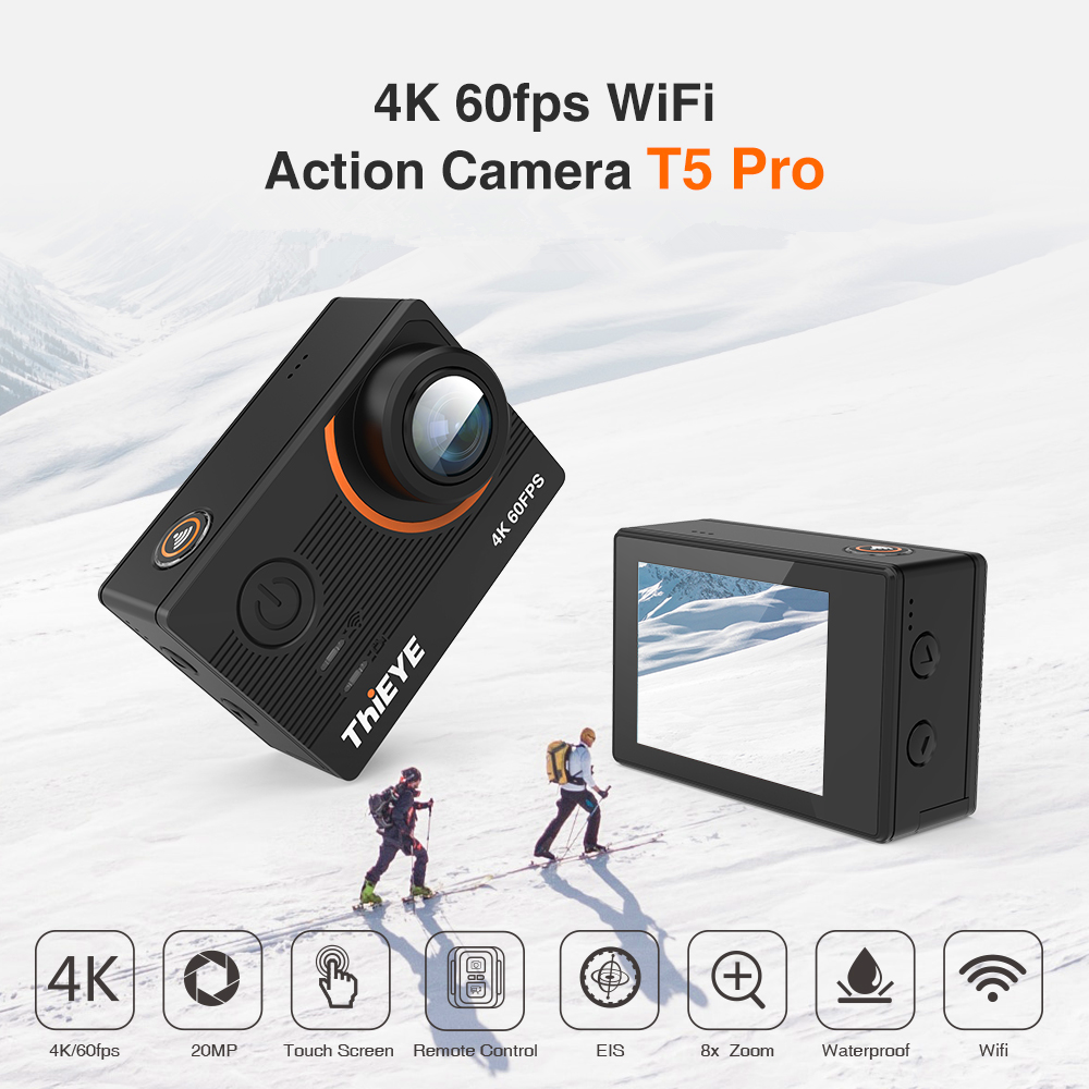 Thieye Real 4K Camera Ultra Hd T5 Pro Action Camera Gyro Stabilisator Afstandsbediening Onderwater 60M Sport Camera