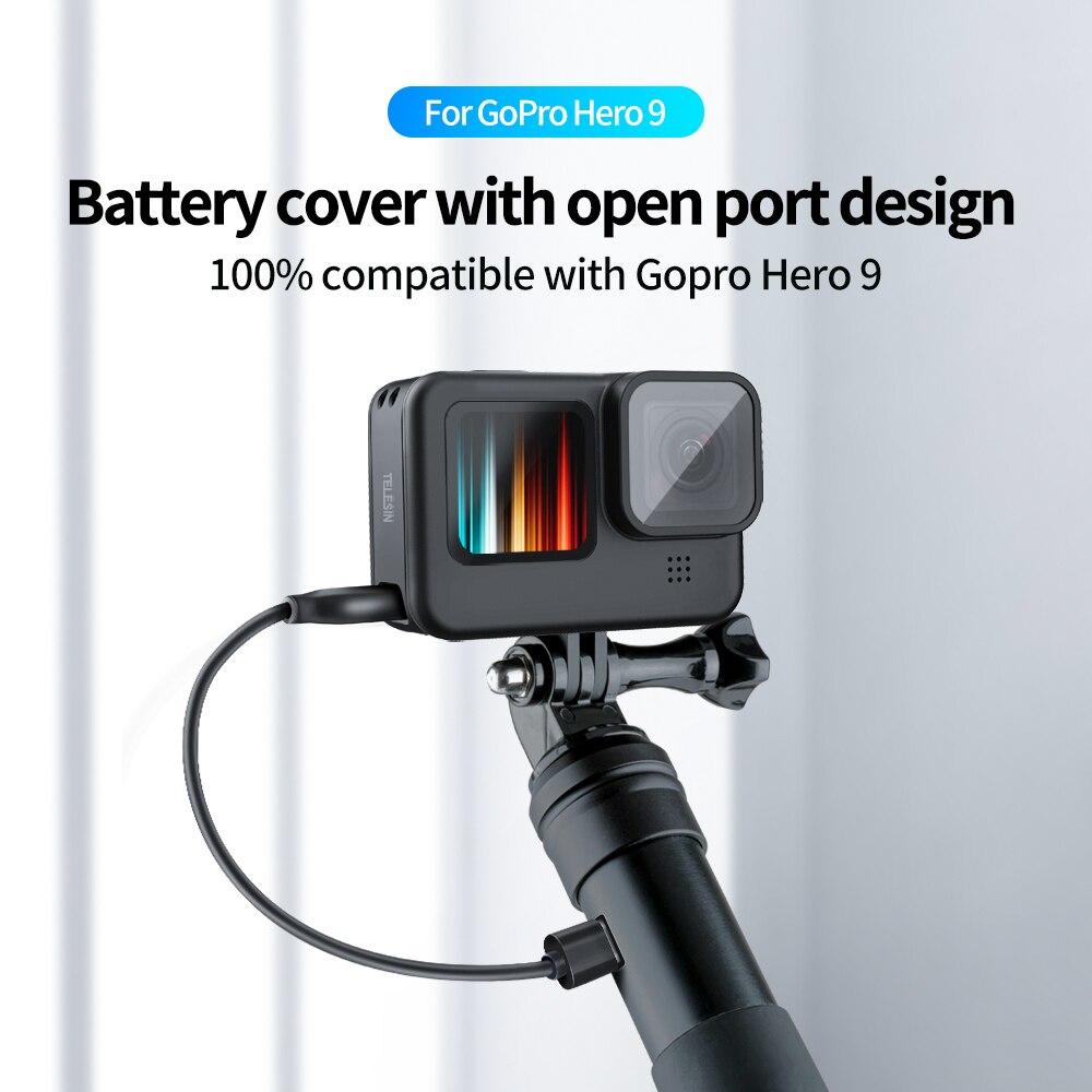 Telesin для gopro 9 батарея боковая крышка съемный легкий type