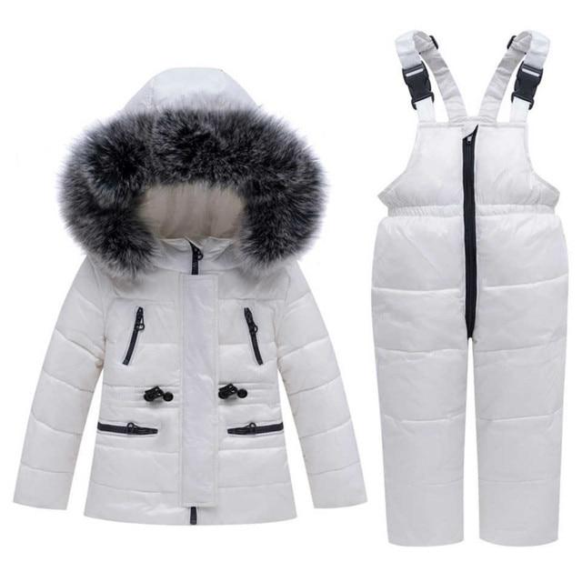 30 traje de invierno para la nieve, conjunto de ropa para niños, chaqueta impermeable de plumón de pato blanco para bebés, abrigo para niñas y pantalones con babero, Parka para niños