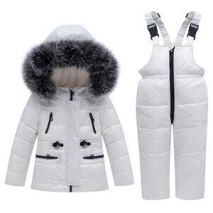 Image 1 -  30 חורף חליפת שלג בגדי ילדי סט תינוק ילד לבן ברווז למטה עמיד למים מעיל לילדה ילדי מעיל + סינר מכנסיים Enfant Parka