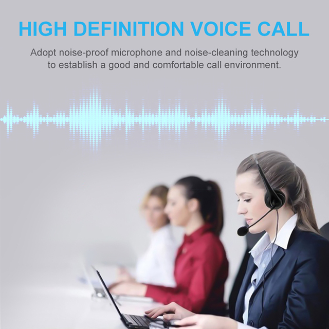 Call Center Wired Headset With Microphone Telephone Operator Headphone Noise Canceling for Computer Phones Desktop Boxes 3