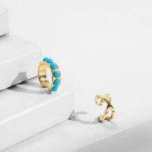 Cartilage Earrings Ear-Cuff Jewelry Piercing Green-Stone Trendy Women Without New