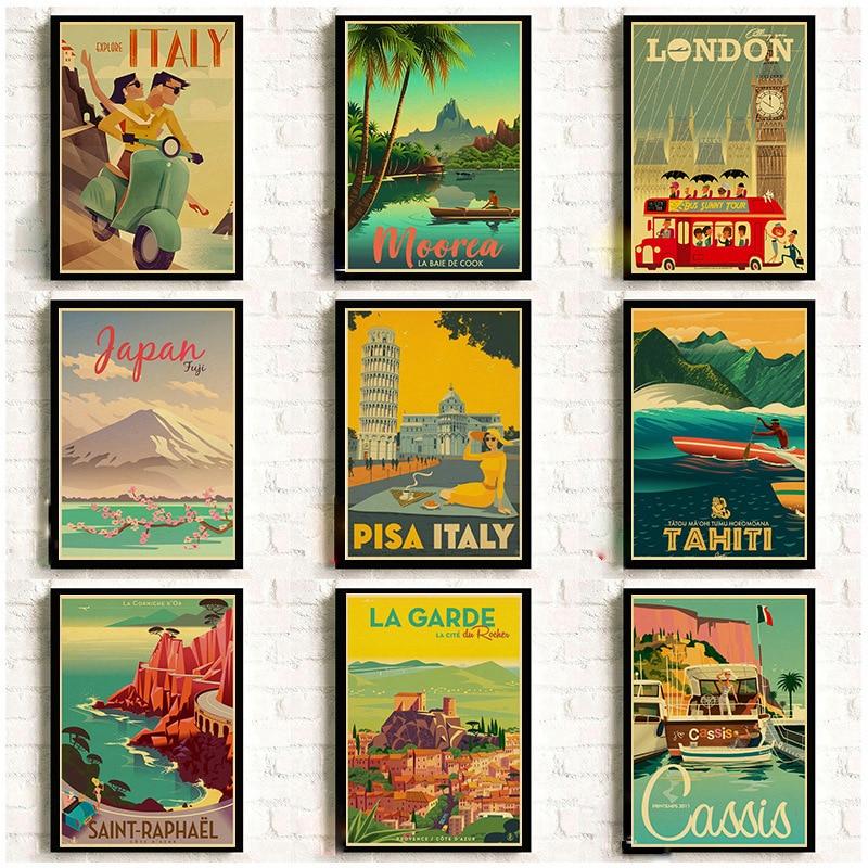 Impression Hd Vintage Art peinture New York londres italie TAHITI rétro affiches voyage villes paysage affiches mur Art photo