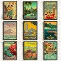 Hd Druck Vintage Kunst Malerei New York London Italien TAHITI Retro Poster Reise Städten Landschaft Poster Wand Kunst Bild