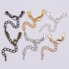 10pcs/lot 3 4 5 8mm Silver Gold Cord Clips Extender Chain Connectors Findings Lobster Clasp For Jewelry Making DIY Bracelet