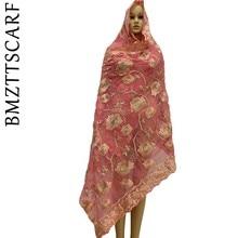 High Quality African Chiffon Scarf muslim embroidery chiffon women for shawls