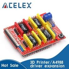 Novo cnc escudo v3 máquina de gravura/impressora 3d/a4988 driver placa expansão para arduino