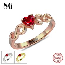 Infinity Ring 100% 925 sterling silver Personalized Heart Birthstone Handmade Engraved Name Rings for Women Wedding Jewelry customize 925 sterling silver heart birthstone rings 8 shape infinity love promise ring jewelry personalised gift ri101977