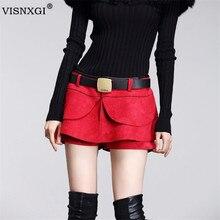 2019 Новая Европейская мода стиль Midiskirt женская с коротким рукавом юбка шорты юбка Замшевые женские пуговицы плиссированные шорты D039