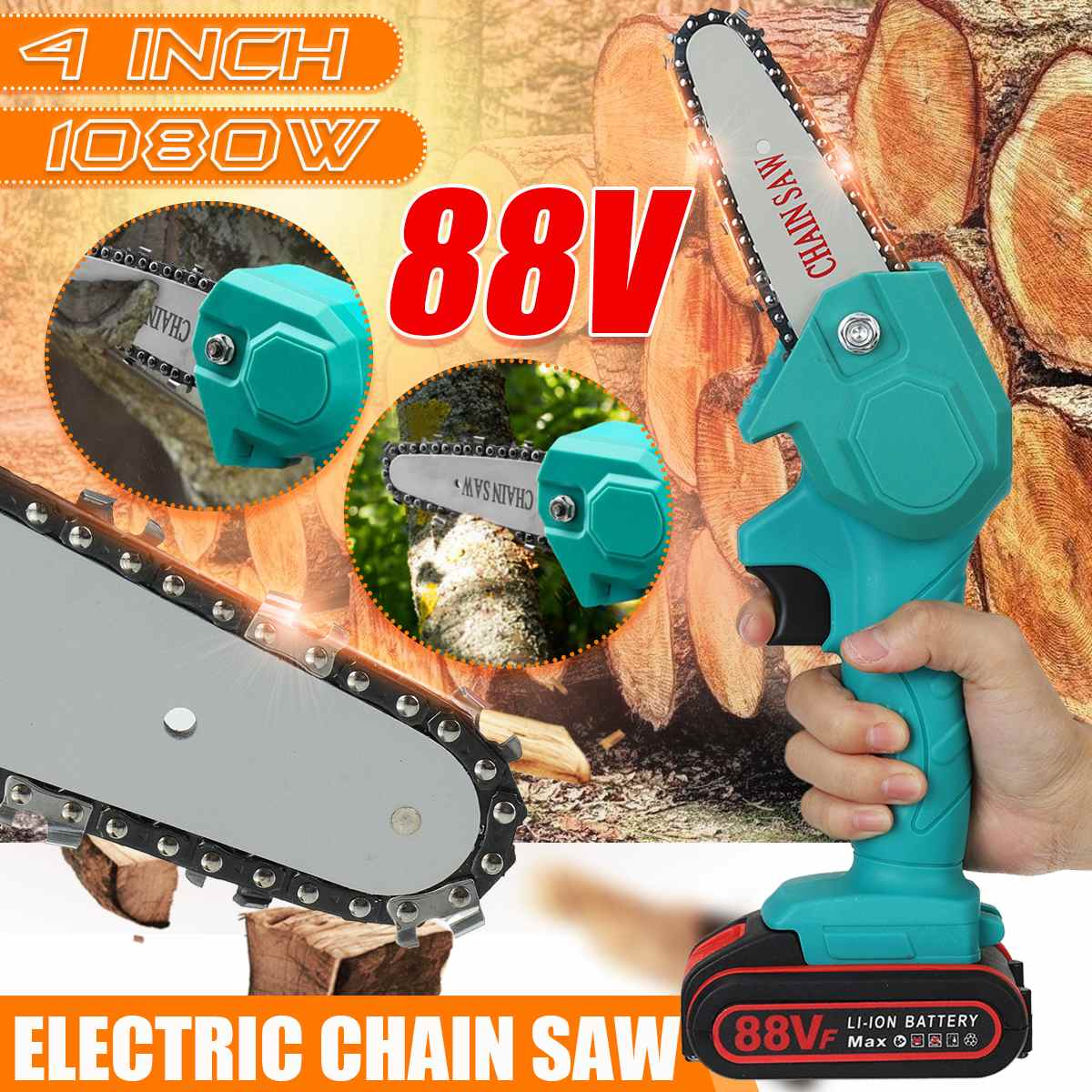 88V 1080W Mini Electric Chain Saw 4 Inch With 2 Battery Rechargeable Woodworking Pruning One-handed Garden Logging Power Tool