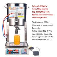 Máquina de llenado de miel con pesaje automático, 50g ~ 2500g, balanza de llenado de pasta viscosa de miel de acero inoxidable