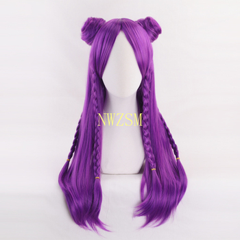 K/DA Kaisa Purple Long Braid Wig With Chignon Cosplay Costume KDA Kai'Sa Heat Resistant Synthetic Hair Women Party Wigs image