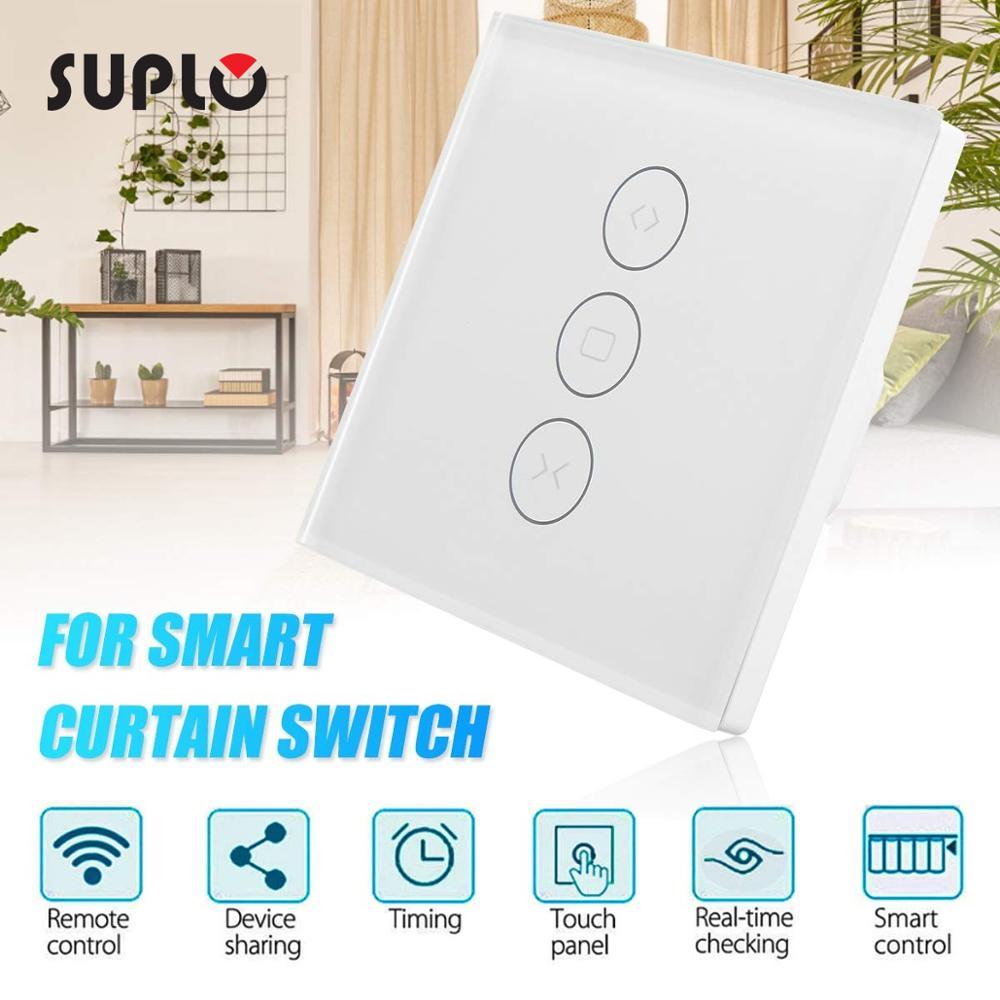 SUPLO Smart Home WiFi Curtain Switch Panel Mobile Phone Remote Control Scenario Linkage Timing Remote Control Switch(EU)