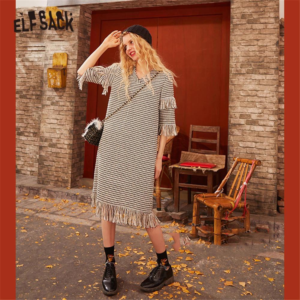 ELFSACK Black Plaid Korean Style Vintage Dress Women 2020 Spring New A Line Tassel Half Sleeve Causal Office Lady Daily Dresses
