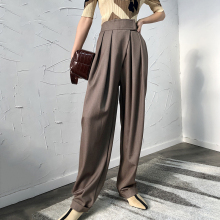 2019 Korean women's autumn new magic stickers thin cuffed casual trousers women Pleated  Wide Leg Pants  Pockets  Regular