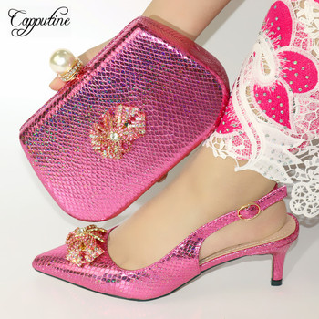 Wholesale Fashion Fuchsia Color Shoes And Bag Set For Parties Italian Elegant High Heels Shoes And Bag To Match Set Size 38-42