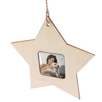 10 piezas de madera Mini estrella marco de fotos decoración del hogar arte Simple marco de fotos pequeño Marco de Fotos decoración colgante