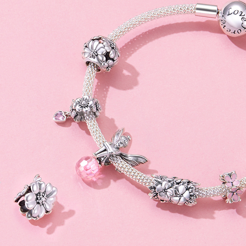 Bamoer Genuine 925 Sterling Silver Metal Flower Beads Charm For Women Origianl Bracelet Bangle Silver Fine Jewelry SCC1486