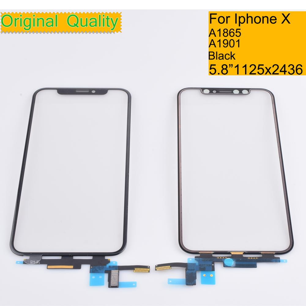10Pcs/lot Original For <font><b>Iphone</b></font> X <font><b>A1865</b></font> A1901 Touch Screen Digitizer Panel Sensor Front Glass Lens For <font><b>iphone</b></font> X LCD Glass image