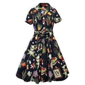 2020 Robe рокабилли платье средней длины длинный хлопковый сарафан-туника с застежкой Хлопок повседневные винтажные 60s 50s большие качели летние...