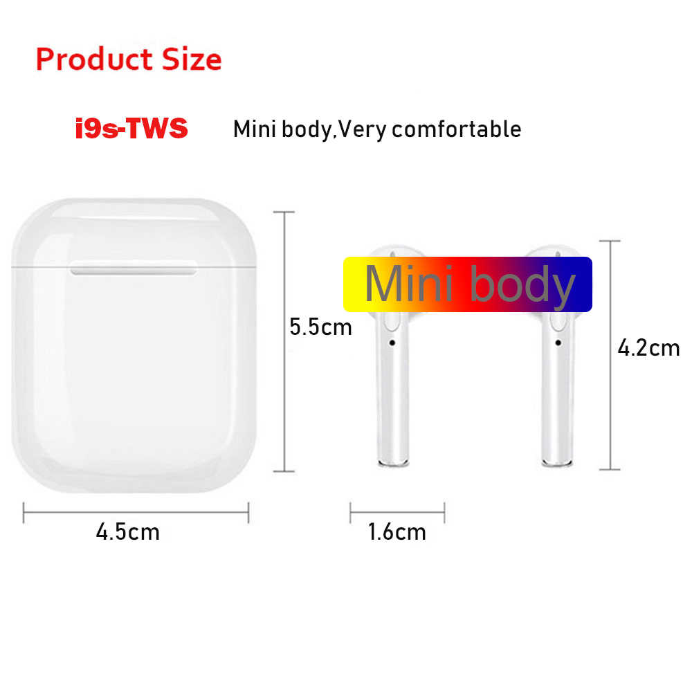 I9S TWS بلوتوث 5.0 لاسلكية سماعات سماعات سماعات الأذن مع تهمة مربع ل فون سامسونج Xiaomi هواوي LG