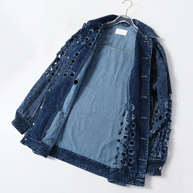 [EAM] Loose Fit Blue Hollow Out Big Size Denim Jacket New Lapel Long Sleeve Women Coat Fashion Tide Spring Autumn 2020 1Y720 6