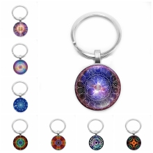 2019 New Hot Mandala Geometric Pattern Glass Cabochon Keychain Fashion Car Key Ring Pendant Jewelry Gift heat 2019 new lightning pattern glass cabochon jewelry necklace pendant popular jewelry gift fashion banquet