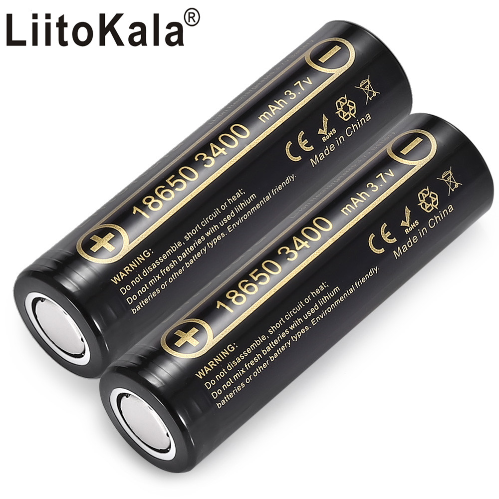 LiitoKala Lii-34A 18650 3400mah 3.7 V 3400mah 18650 Lithium Rechargeable Battery For Flashlight Batteries