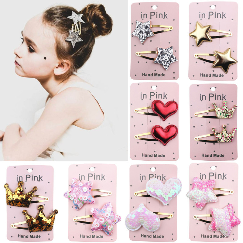 73Color 2PC Lovely Children Hair Clips BB Hair Pins Heart Children Barrettes Hair Accessories Head Wear