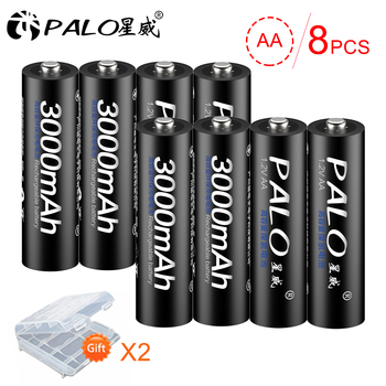 PALO 16Pcs Original 1.2V AA Batteries Rechargeable Battery Ni-MH Battery Pre-charged Bateria For Flashlight Microphone Camera voxlink aaa battery 1 2v 1100mah 8pcs rechargeable battery pre charged recharge ni mh rechargeable battery for camera microphone