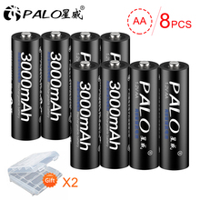 PALO 8Pcs Original 1.2V AA Battery Rechargeable 3000mah 2A Batteries Ni-MH for Flashlight Microphone Camera Toys