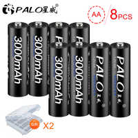 PALO 8Pcs Original 1.2V AA Battery Rechargeable Battery 3000mah 2A Batteries Ni-MH Battery for Flashlight Microphone Camera Toys