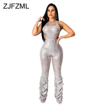цена на Waist Band Cut Out Elegant Bandage Romper Women O Neck Sleeveless Club Party Jumpsuit Autumn Pleated Skinny One Piece Overall
