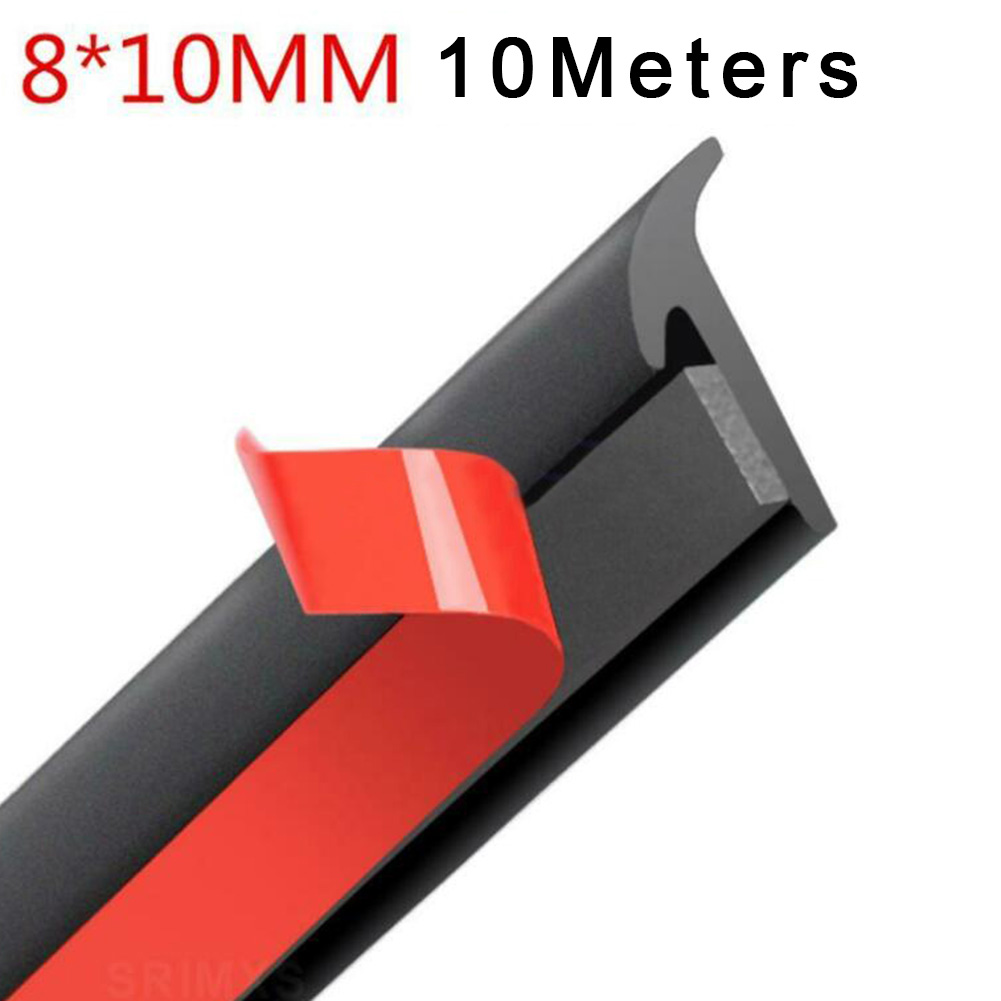1pcs 10M Universal Car Rubber Sealing Strip Inclined T-shaped Weatherproof Edge Trim Car Styling Accessories
